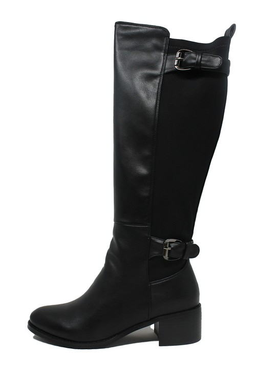 Pamela Scott Black Faux Leather & Fabric Long Leg Side Zip Boot