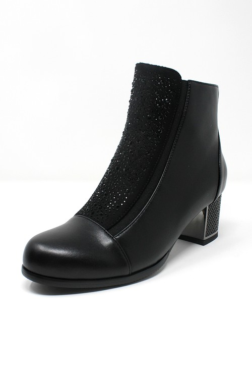 Shoe Lounge Black Faux Leather Jewelled Side Zip Ankle Boot