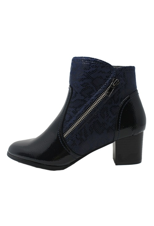 Pamela Scott Navy Patent Side Zip Ankle Boot