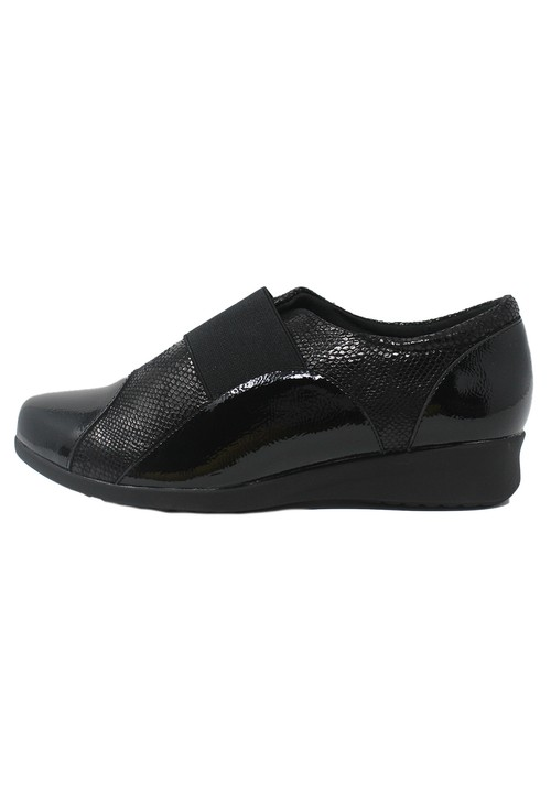 Pamela Scott Black Patent Pull-On Elasticated Shoe