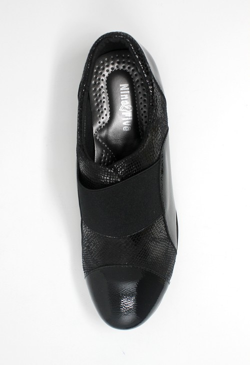 Shoe Lounge Black Patent Pull-On Elasticated Shoe