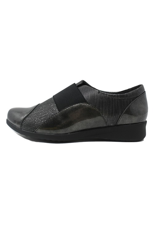 Pamela Scott Grey Patent Pull-On Elasticated Shoe