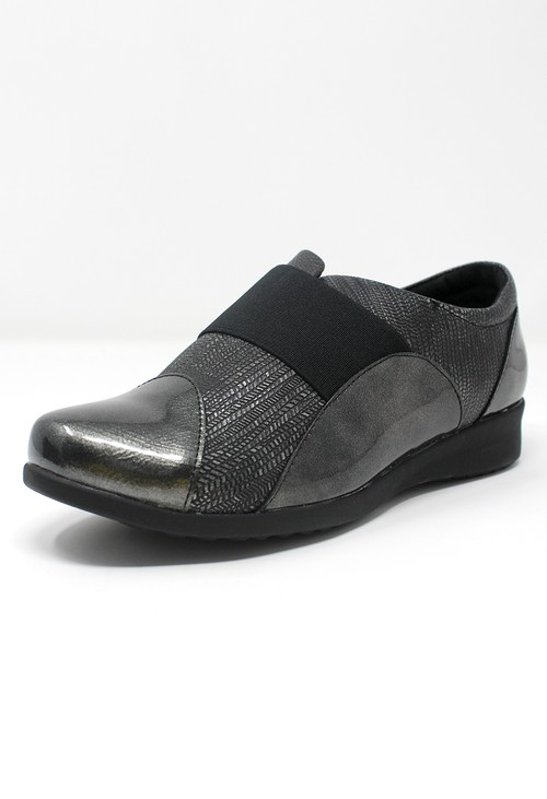 Shoe Lounge Grey Patent Pull-On Elasticated Shoe