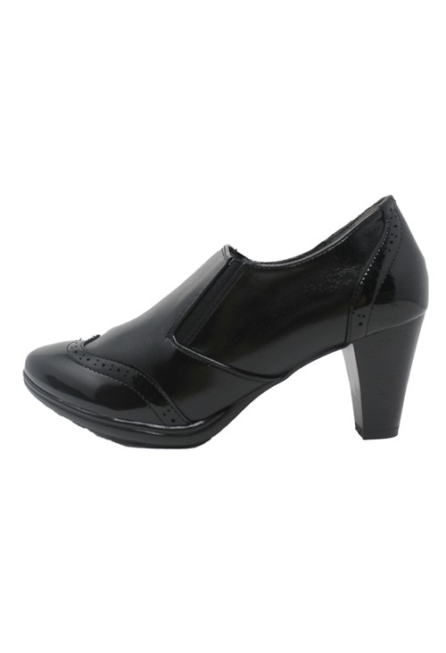 Shoe Lounge Black Faux Leather & Patent Pull-On Elasticated Shoe