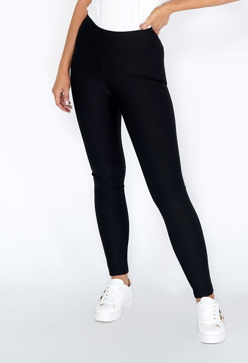 Pamela Scott Black Thick Leggings with V Waist Band