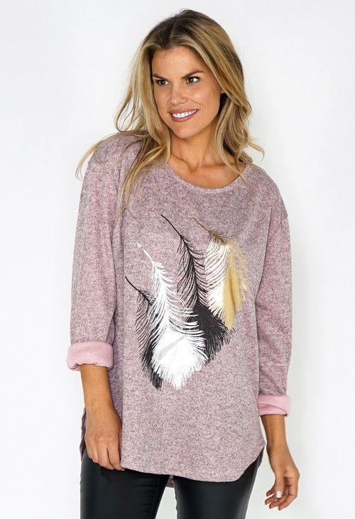 Zapara Pink Feather Print Knit Pullover