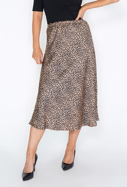 Pamela Scott Tan Leopard Print Skirt