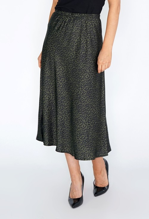 Pamela Scott Green Leopard Print Skirt