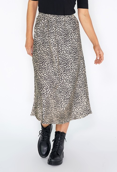 Pamela Scott Off White Leopard Print Skirt