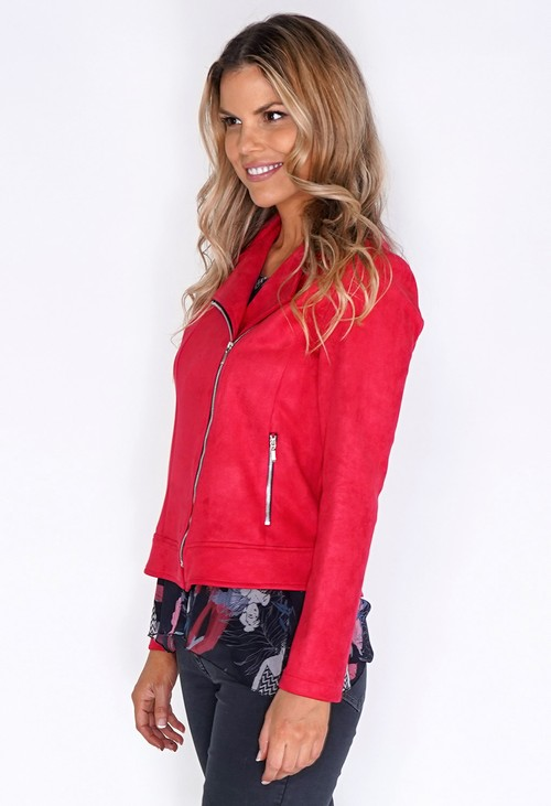 Sophie B Suede Red Zipped Jacket