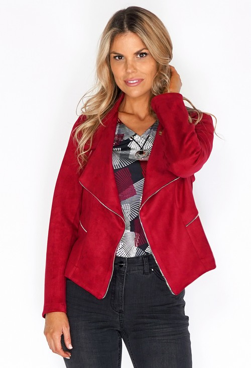 Sophie B Dark Red Suede Zipped Jacket