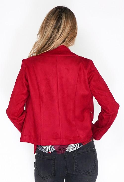 Sophie B Dark Red Suede Zipped Jacket