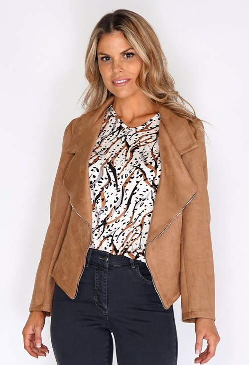 Sophie B Tan Suede Zipped Jacket