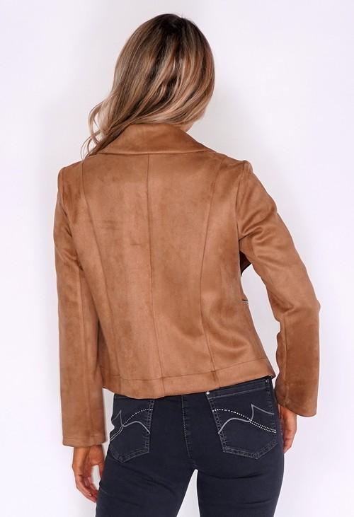 Sophie B Tan Suede Zipped Jacket