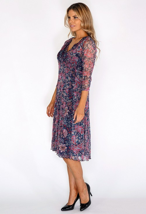 Sophie B Navy V-neck Leaf Print Dress