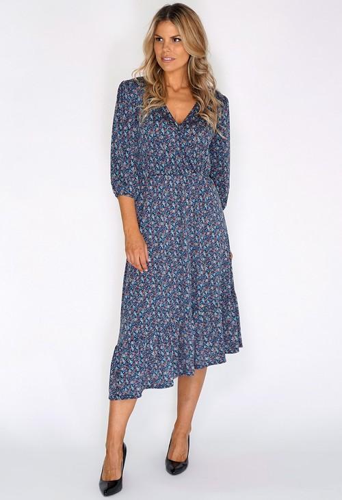 Sophie B Blue/Green Fan Print Dress