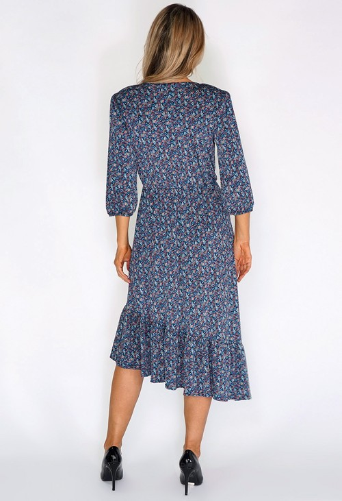 Sophie B Blue/Green Fan Print Dress