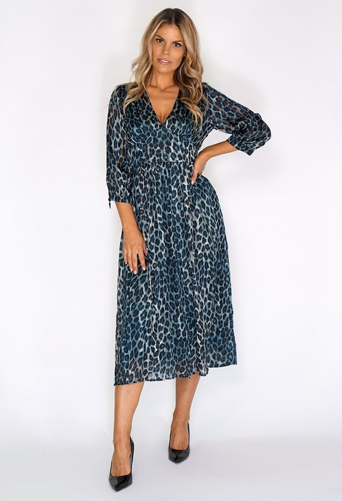 Pamela Scott Black and Teal Leopard Print Long Dress
