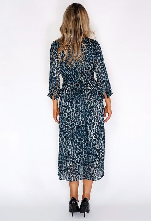 Pamela Scott Black and Teal Leopard Print Long Dress