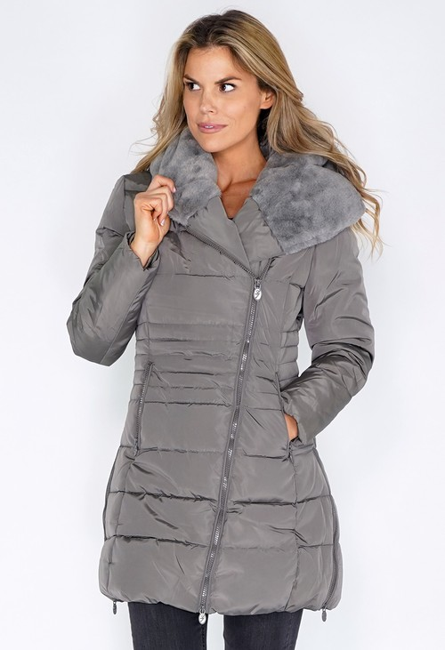 Pamela Scott Grey Parka with Fur Lined Hood
