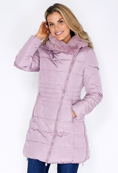 Pamela Scott Soft Mauve Parka with Fur Lined Hood