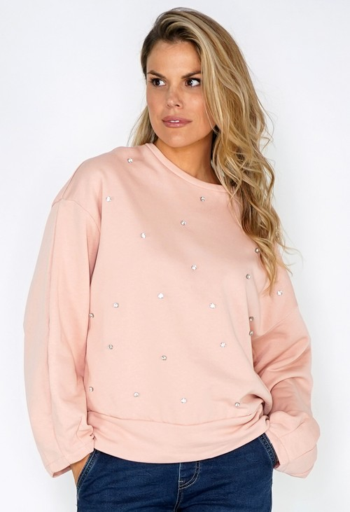 Pamela Scott Peach Diamante Studded Jumper