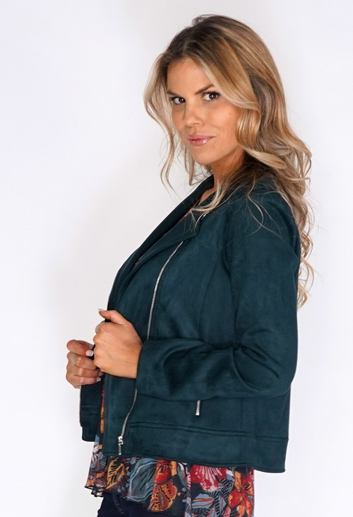 Sophie B Green Suede Zipped Jacket