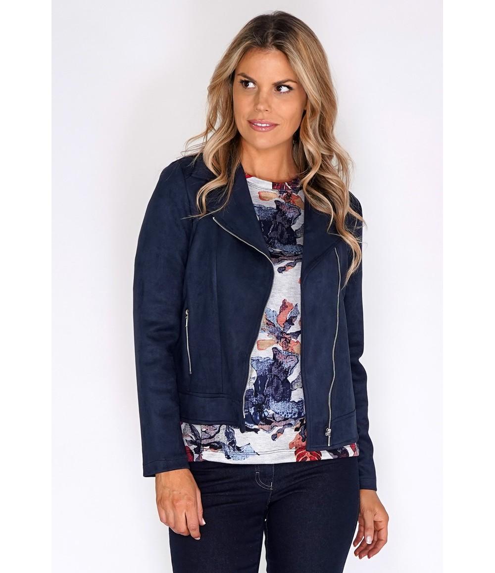 Sophie B Navy Suede Zipped Jacket