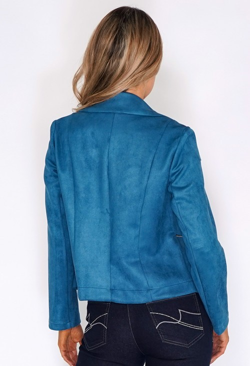 Sophie B Blue Suede Zipped Jacket