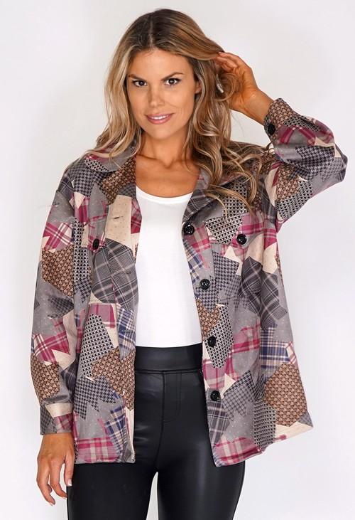 Zapara Pink Suede Patchwork Jacket