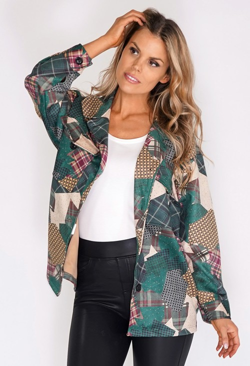 Zapara Green Suede Patchwork Jacket