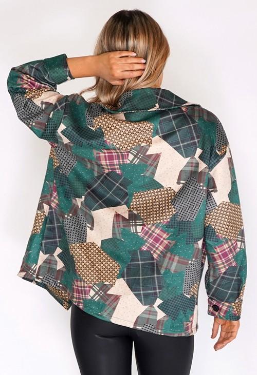 Zapara Green Suede Patchwork Jacket