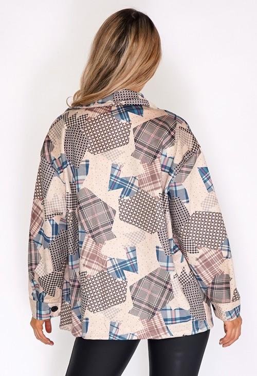 Zapara Beige Suede Patchwork Jacket
