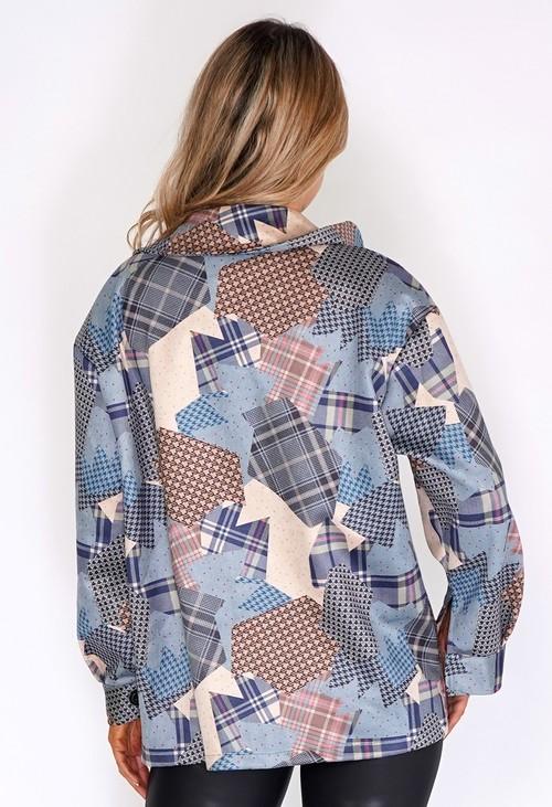 Zapara Blue Suede Patchwork Jacket