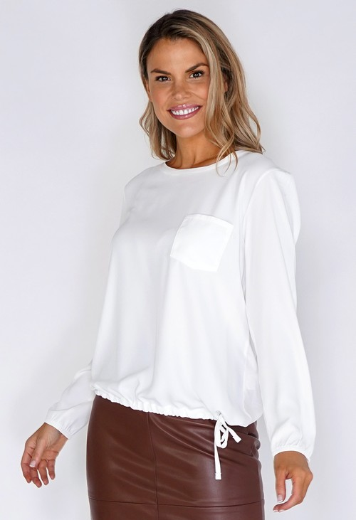 ERFO White Pocket Detailed Blouse with Tied Hem