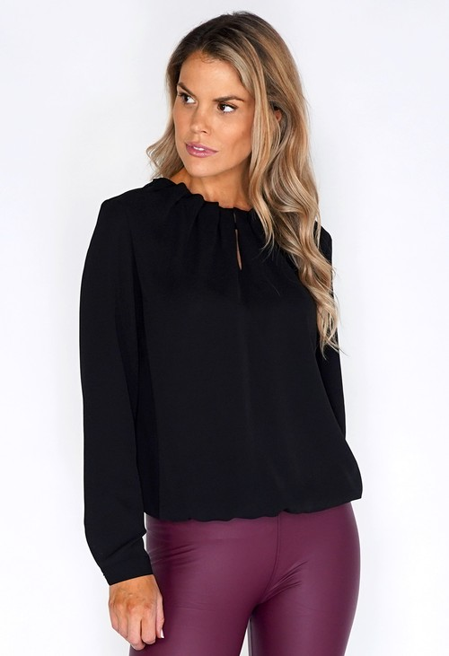 ERFO Black Rouched Neck  Blouse