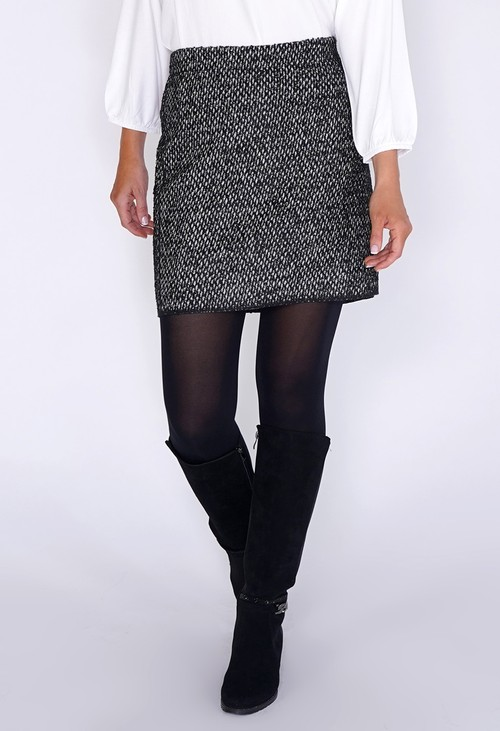 Opus Black and White Diamond Knit Skirt