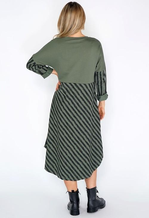 Pamela Scott Khaki Stripped Dress with Zip Details