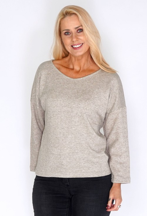 Bicalla Sand Dropped Shoulder Knit Jumper