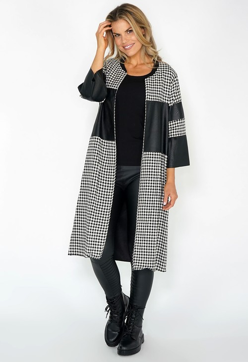 Pamela Scott PU Leather Panel Houndstooth Coat