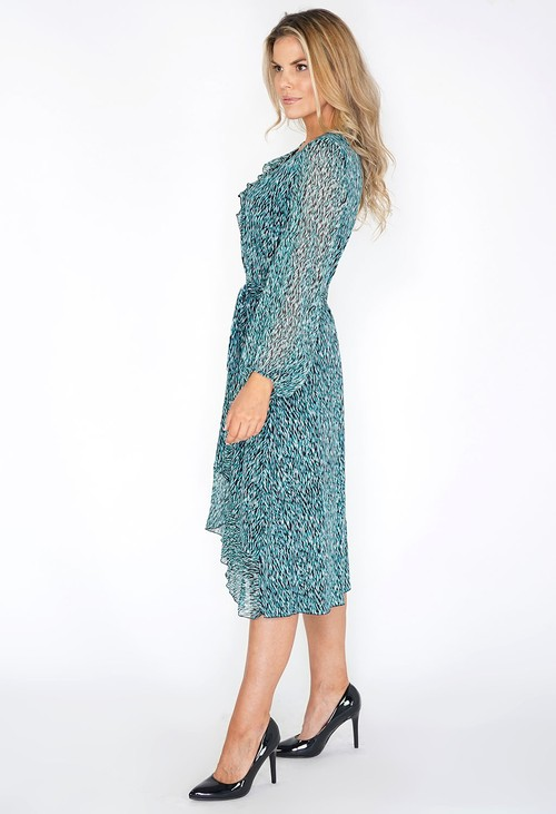 Zapara Turquoise Print Dress with Ruffle Details
