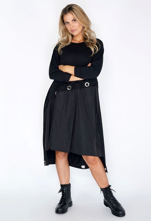 Pamela Scott Black Panel Dress with Silver Hoops