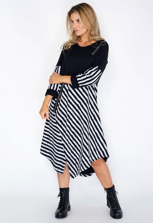 Pamela Scott Black Stripped Dress with Zip Detail