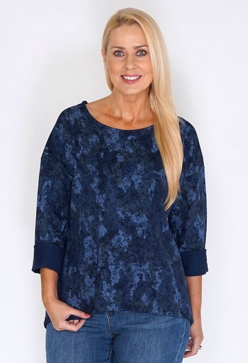 Zapara Navy Dropped Shoulder Camouflage Jumper