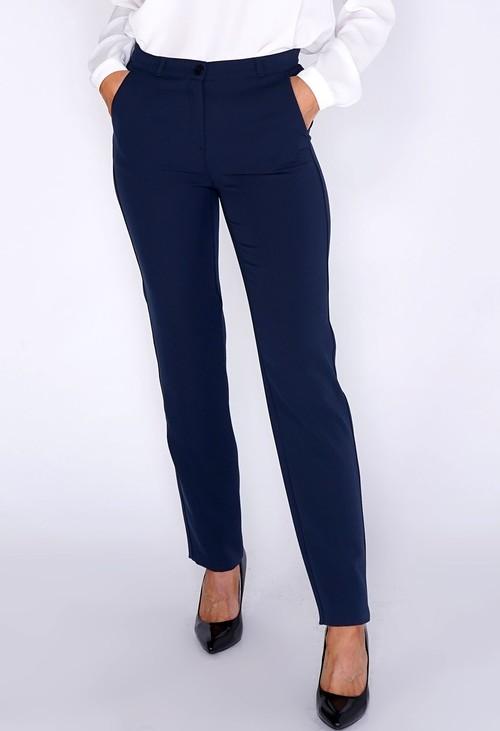 Frank Walder Blue Ink Straight Leg Trousers