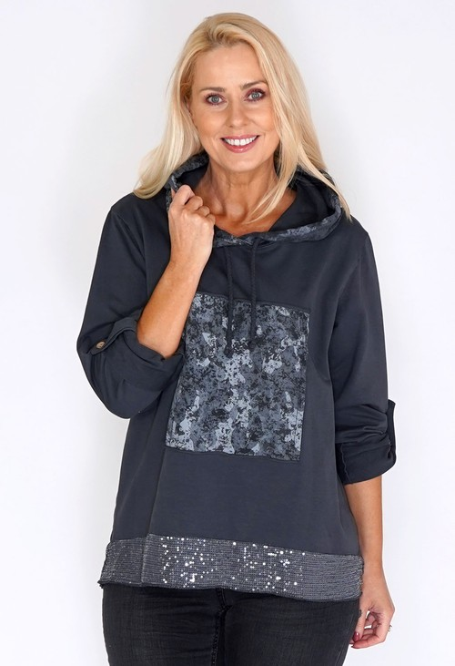 Zapara Grey Jumper with Glitter Hem and Camouflage Hood