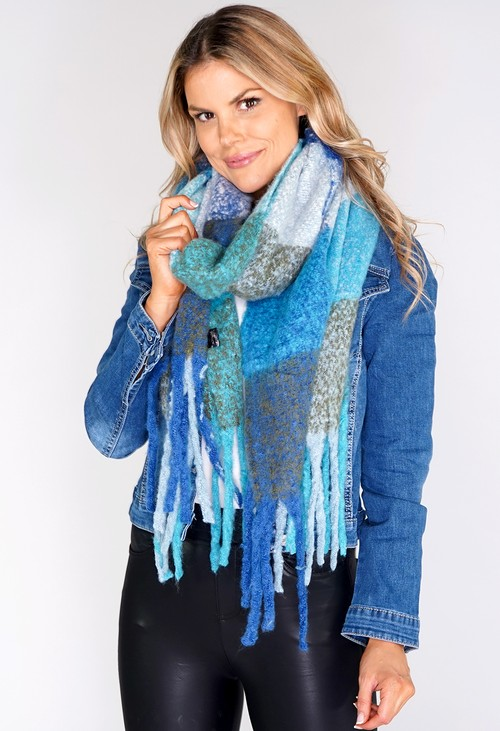 Pamela Scott Large Blue Panelled Soft Woolly Scarf