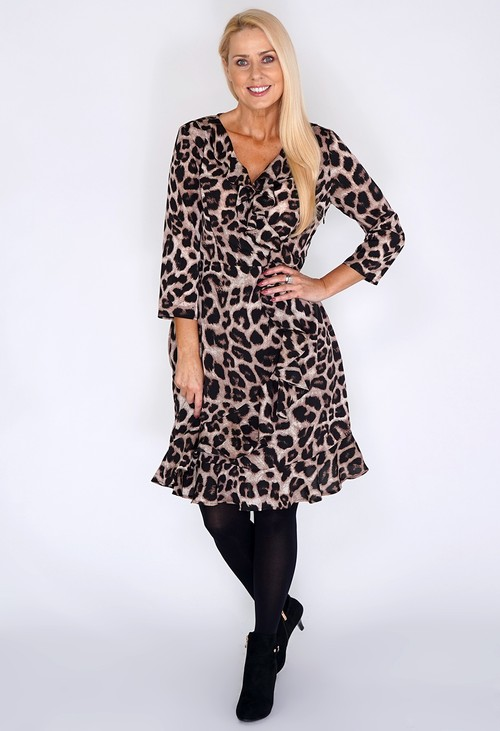 Pamela Scott Beige Leopard Print Dress with Ruffle Details.
