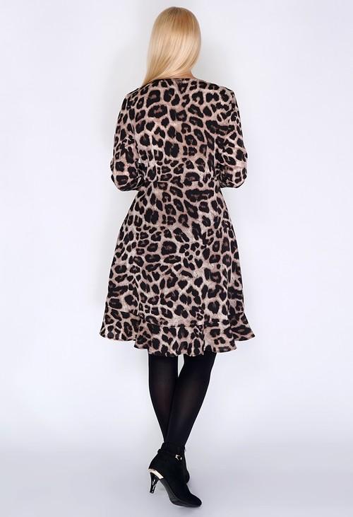 Pamela Scott Beige Leopard Print Dress with Ruffle Details.