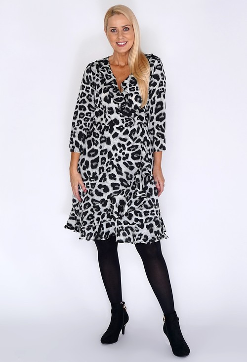 Pamela Scott Grey Leopard Print Dress with Ruffle Details